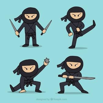 Hand getrokken ninja karaktercollectie in verschillende poses