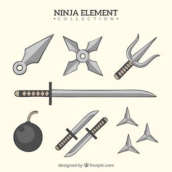 Hand getrokken ninja krijger element collectie