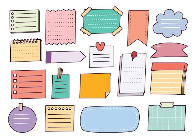 Hand getrokken notitie papier doodle set