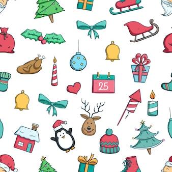Hand getrokken of doodle kerst iconen in naadloze patroon