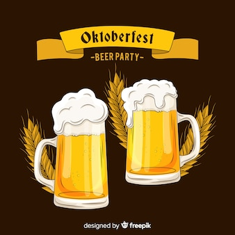 Hand getrokken oktoberfest geeft een toast bier