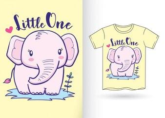 Hand getrokken olifant voor t-shirt