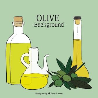 Hand getrokken olijfolie achtergrond