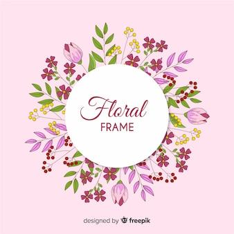 Hand getrokken omcirkelde bloemenframe achtergrond