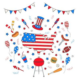 Hand getrokken onafhankelijkheidsdag icon set in doodle stijl