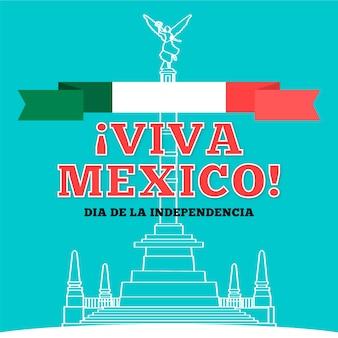 Hand getrokken onafhankelijkheidsdag van mexico