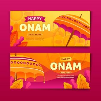 Hand getrokken onam-banners