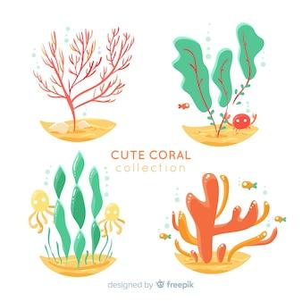 Hand getrokken onderwater koraal collectie