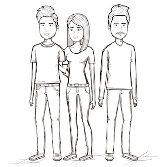 Hand getrokken ongekleurde staande mannen en vrouw op witte achtergrond. vector illustratie.