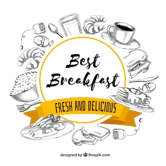 Hand getrokken ontbijtkader