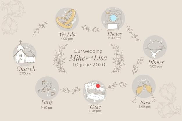 Hand getrokken ontwerp bruiloft planner
