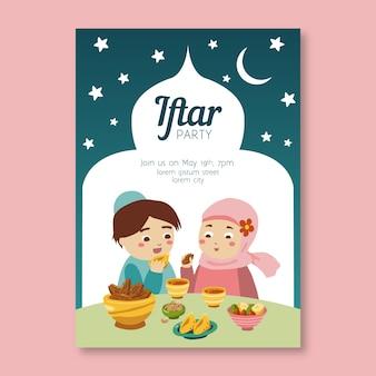 Hand getrokken ontwerp iftar uitnodiging
