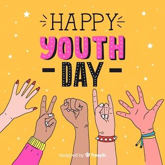 Hand getrokken ontwerp jeugd dag achtergrond
