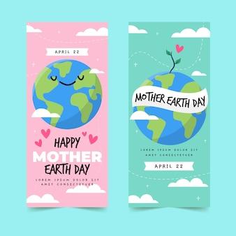Hand getrokken ontwerp moeder aarde dag banner