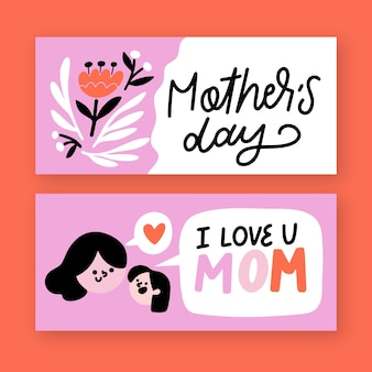 Hand getrokken ontwerp moederdag banners