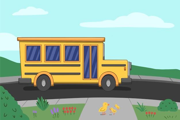 Hand getrokken ontwerp terug naar schoolbus