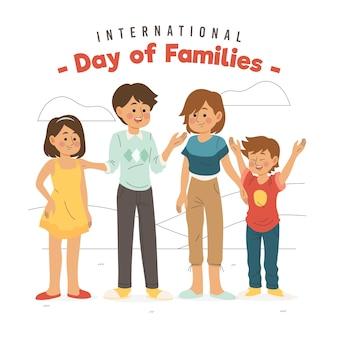Hand getrokken ontwerpdag van gezinnen