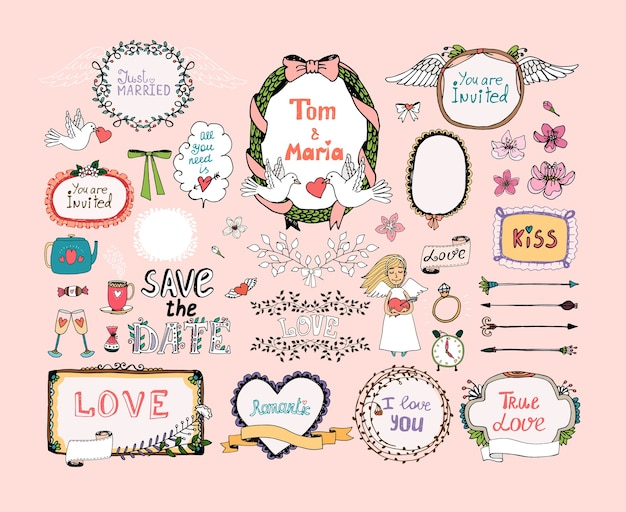 Hand getrokken ontwerpelementen voor het decor van huwelijksuitnodigingen. frame, kransen, bruiloft symbolen.