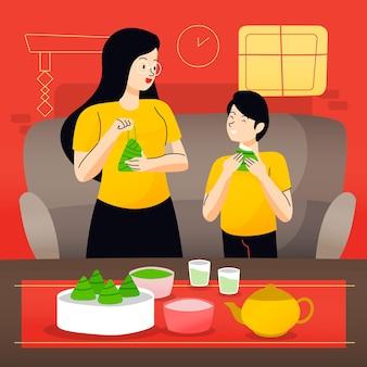 Hand getrokken ontwerpfamilie die zongzi eten