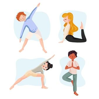 Hand getrokken ontwerpmensen die yoga doen