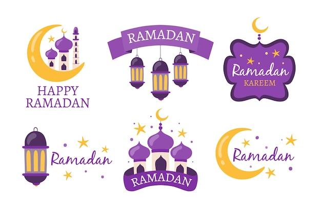 Hand getrokken ontwerpset ramadan label