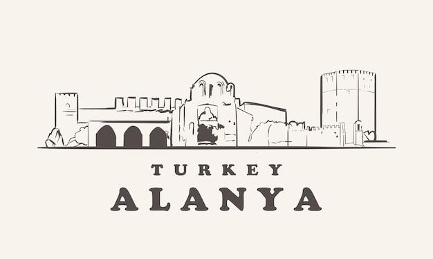 Hand getrokken oriëntatiepunten van alanya, turkije