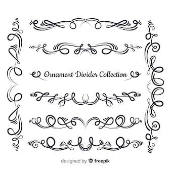 Hand getrokken ornament divider collectie