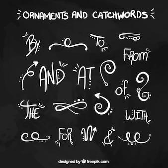 Hand getrokken ornamenten en steekwoorden in blackboard effect