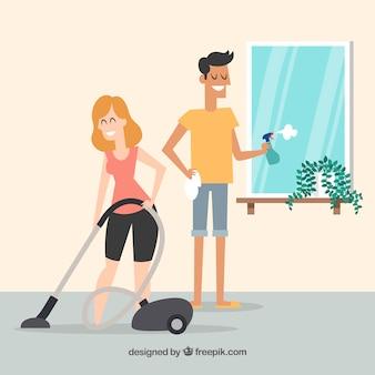 Hand getrokken paar dat het huis schoonmaakt