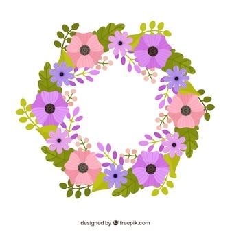 Hand getrokken paars en roze bloemen krans