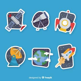 Hand getrokken pack van ruimtestickers