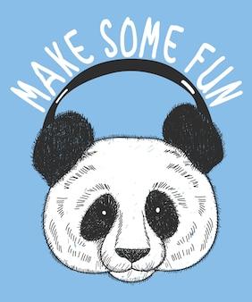 Hand getrokken panda vectorontwerp voor t-shirtdruk