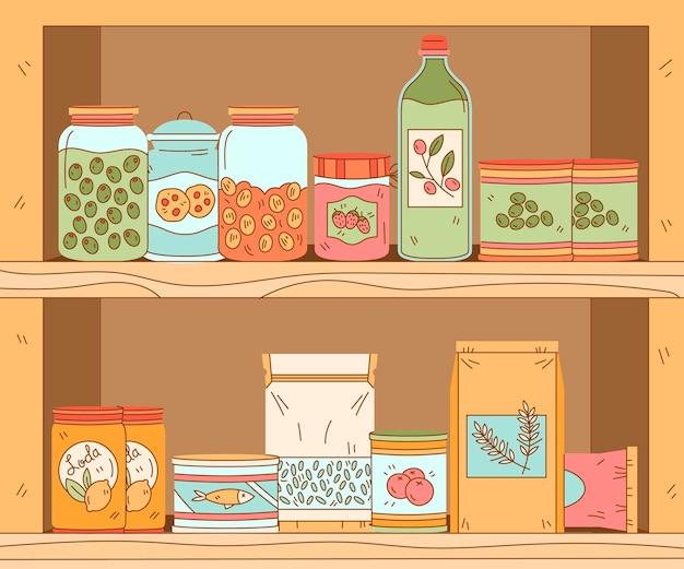Hand getrokken pantry illustratie
