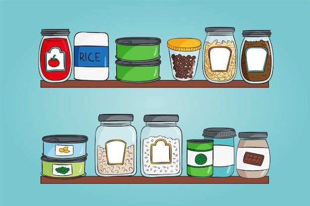 Hand getrokken pantry illustraties Premium Vector
