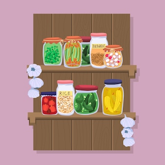 Hand getrokken pantry-voedsel