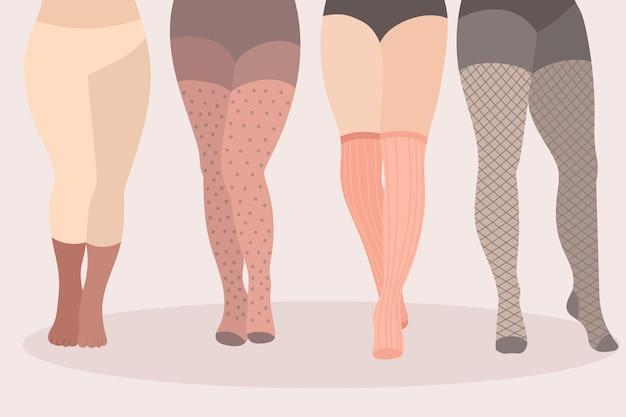 Hand getrokken panty panty's collectie