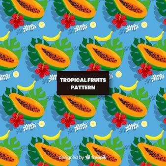 Hand getrokken papaja patroon