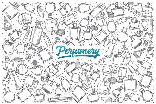 Hand getrokken parfumerie doodle set achtergrond met blauwe letters