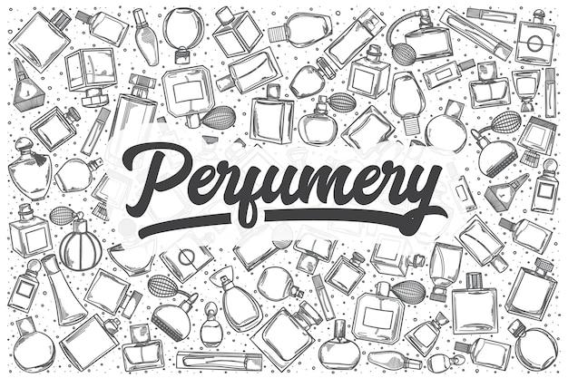 Hand getrokken parfumerie doodle set. belettering - parfumerie
