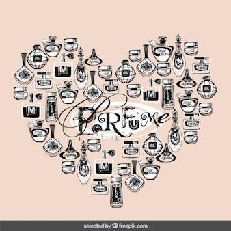 Hand getrokken parfumflesjes die een hart