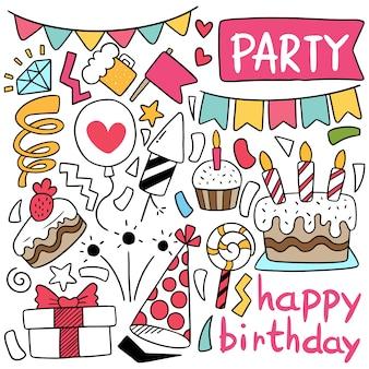Hand getrokken partij doodle gelukkige verjaardag elementen