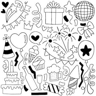 Hand getrokken partij doodle gelukkige verjaardag ornamenten achtergrond patroon illustratie