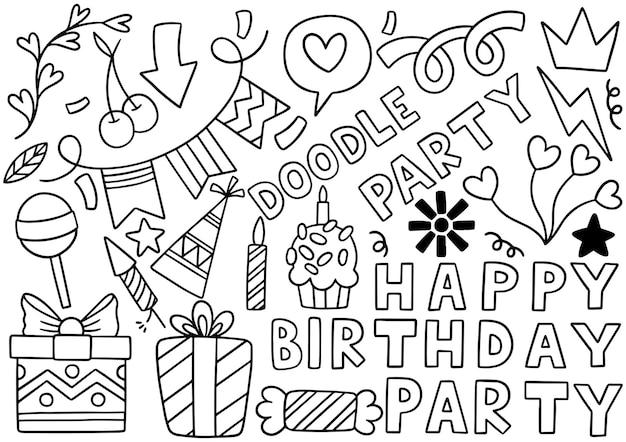 Hand getrokken partij doodle gelukkige verjaardag ornamenten achtergrondpatroon