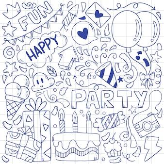 Hand getrokken partij doodle gelukkige verjaardag ornamenten illustratie