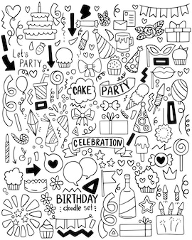 Hand getrokken partij doodle gelukkige verjaardag