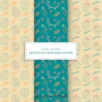 Hand getrokken pasen-patrooninzameling