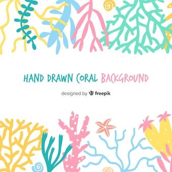 Hand getrokken pastel koraal koraal achtergrond