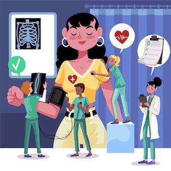 Hand getrokken patiënt die een medisch onderzoek neemt