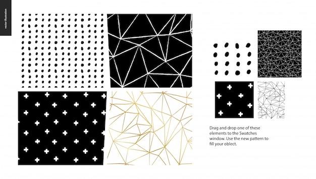 Hand getrokken patronen - een groep set van abstracte naadloze patronen Premium Vector