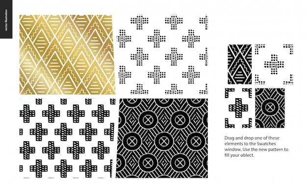 Hand getrokken patronen - een groepset van vier abstracte naadloze patronen - zwart, goud en wit. geometrische lijnen, punten en vormen - stukken